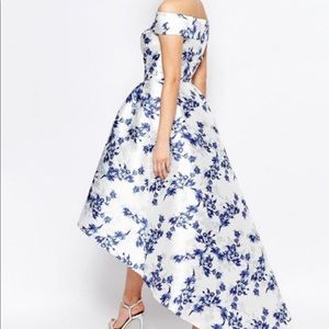 Chi Chi London Bardot floral formal high-low gown